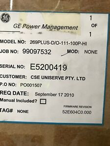 GE 269 Plus Motor Management Relay 269PLUS-D/O-111-100P-HI  *