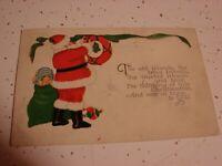 VINTAGE   SANTA CLAUS   CHRISTMAS CARD POSTCARD  USED   POSTMARKED DEC 21 33
