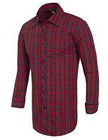 New Mens Red 100%Cotton Grid Shirt Slim Fit Long Sleeve Dress TOP S / M / L / XL