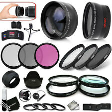 72mm Wide Angle Lens + 72mm 2X Telephoto Lens + 72mm  10 Piece Filters KIT +MORE
