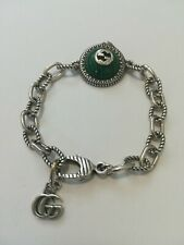 Genuine GUCCI Sterling Silver 925 Malachite Link Chain Bracelet 17cm.