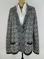 New Banana Republic Women Cardigan Sweater XL Gray Black Alpaca Wool Blend