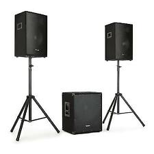 "Active PA Speakers System Hi Fi Loud DJ 15 "" Woofers 600 W Max Tripods Stand"