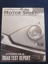 CITROEN DS19 1960 Road Test Report from MOTOR SPORT 8 pgs Excellent Condition