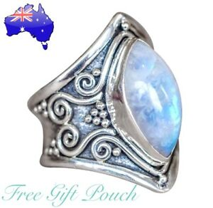 Moonstone Antique Silver Boho Gypsie Vintage Ring Womens Jewellery Bohemian Gift