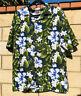 Mens Sz L/XL Tropical Hawaiian Green Blue White Button Short Sleeve Shirt
