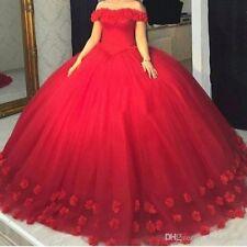 Red Quinceanera handmade flowers Ball prom pageant sweet 16 vestidos de 15 anos