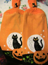 LOT OF 2 HALLOWEEN MOON~ BLACK CAT~PUMPKIN~CROCHET~TOP KITCHEN~BATH HAND TOWELS