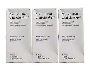 Starbucks (3 Pack) Classic Chai Concentrate Spiced Black Teas Lattes 1QT 04/2020