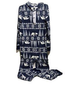 Old Navy Christmas Holiday Print Polar Bear Snow Flakes Trees Pajama L (10-12)