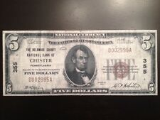 Reproduction  $5 Bill Delaware County National Bank Chester PA 1929 Lincoln