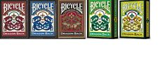 Set of 5 Bicycle Dragon Back Playing Card Decks Red, Blue, Gold, Yellow & Green