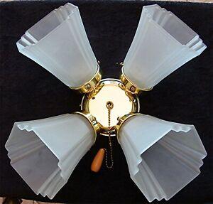 """4 Art Deco FROSTED Ceiling Fan Lamp Shades w/FREE Fan Light Fixture 3 3/4"""" Base"""