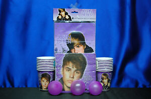 Justin Bieber Party Set # 7 Cups Invites Napkins Loot bags For 16 Guests