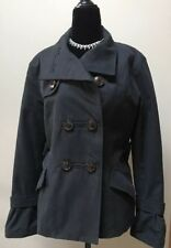 Esprit NWT Womens Black Double-breasted Jacket Trench Coat Fully lined Large
