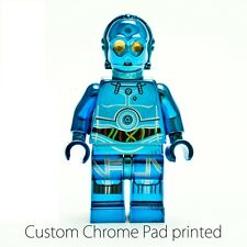 Custom Lego Star Wars Minifigure Chrome Blue C-3PO C3PO Droid Machine Pad Print