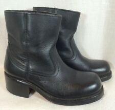 Women's Black Leather Motorcycle Ridding Ankle Granny Boots Surgery Sz 6 Eur 36
