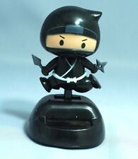 Black Ninja solar powered swinging bobblehead Japanese Plastic wobble toy