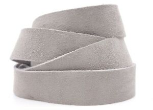 Strips of Suede Leather Light Grey 60 Inches Length 4-4.5 oz. Choose Width