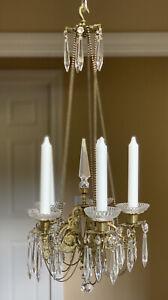 Antique Ormolu Bronze Crystal Chandelier De Fete Candle Petite Victorian