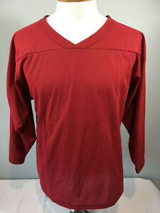PRO Mark Long Sleeve Hockey Practice Jersey Burgundy V-Neck YOUTH Small NEW