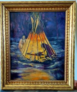 1930's Sharp SIGNED Original Oil on Board Spirit Of The Forest Painting Framed