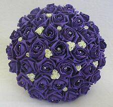 WEDDING BOUQUET ARTIFICIAL FLOWERS PURPLE IVORY FOAM ROSE BRIDE WEDDING FLOWERS