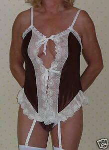 Suspender Cami Set in Brown Satin / Cream Lace 10/12