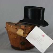 Lock & Co Vintage Silk Top Hat and Leather Box 53cm 6 5/8 XS