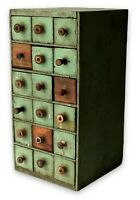 Antique Wooden Cabinet Primitive Wood Cheesebox Drawers Orig Green Paint Spools