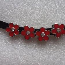 8 fleur charms plaqué argent émail pour ceinture bracelets 11mm uk vendeur