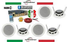KIT AUDIO FILODIFFUSIONE BLUETOOTH+USB+RADIO FM+TELECOMANDO+4 CASSE DA INCASSO13
