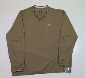 NEW Nike Golf Men 2XL Golf Windbreaker Jacket Mini Swoosh Tan Zipper Pockets