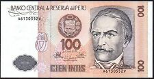 1987 PERU 100 INTIS BANKNOTE * A 6130552 V * UNC * P-133 *