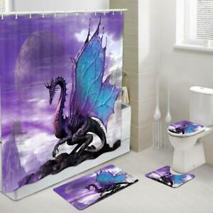 4Pc Fantasy Animal Purple Dragon Fabric Shower Curtain Toilet Cover Rugs Mat Set