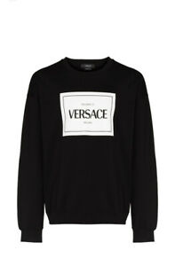 Authentic Versace Box Logo Crew Neck black Pullover Sweatshirt size XL NWT