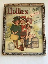 Vintage Dollies to Paint Cutout and Dress Cover Framed