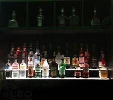 "60"" 2 Tier LED Lighted Liquor Display Shelf - Stainless Steel Finish"