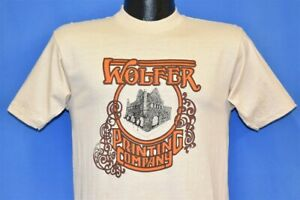 vtg 70s WOLFER PRINTING COMPANY GOTHIC FONT SOFT COTTON BEIGE t-shirt SMALL S