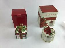 Fitz & Floyd Plaid Christmas 2063/128 & Poinsettia Santa 49-354 Lidded Boxes
