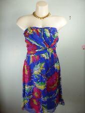 BEBE Sydney blue red maxi floral print Strapless 100% SILK dress sz 10
