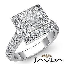 2 Row Halo Pave Princess Diamond Engagement Ring GIA F VS2 18k White Gold 2.9ct