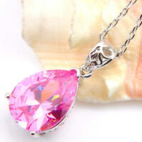 Fashion Gift Lovely Genuine Pink Fire Topaz Silver Necklace Pendant With Chain