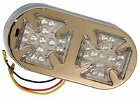 Bike It Twin Maltese Cross LED Tail Light With Clear Lens Number Plate Light
