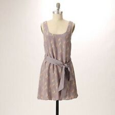 Anthropologie PARTIMI 100% Silk Gray Floral Belted Tunic Top, Size 4 Small S