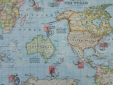 Atlas Blue World Map Designer Curtain Upholstery Craft Fabric