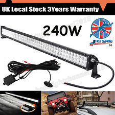 240W 12V 24V 42'' Inch LED Work Light Bar Flood Spot Offroad With Wiring Harnes