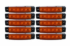 100 Pcs 12V Front Side Rear Marker Clearance ORANGE AMBER 6 LED Lights Bus Truck