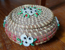 FINE NATIVE AMERICAN PINE NEEDLE LIDDED BASKET w/ BEADS & MOTHER of PEARL NE US
