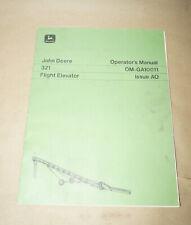John Deere Model 321 Flight Elevator Operator's Manual P/N Om-Ga10011 Issue Ao